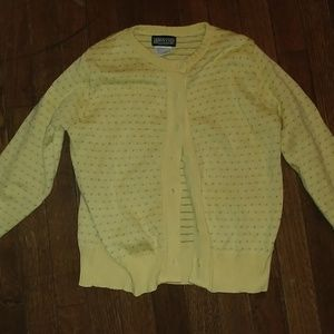 NWOT Lands' End Yellow/Grey Dotted Cotton Cardigan